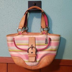 Coach stripped handbag